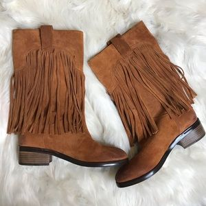 Lucky Brand Caleb Brown Suede Fringe Boot